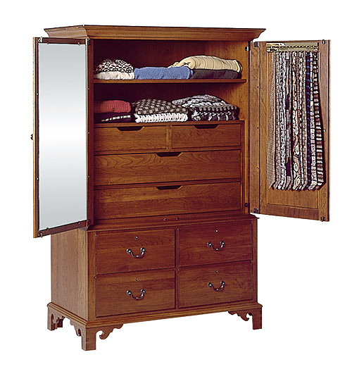 Attractive #7272 Cherry Clothing Armoire.