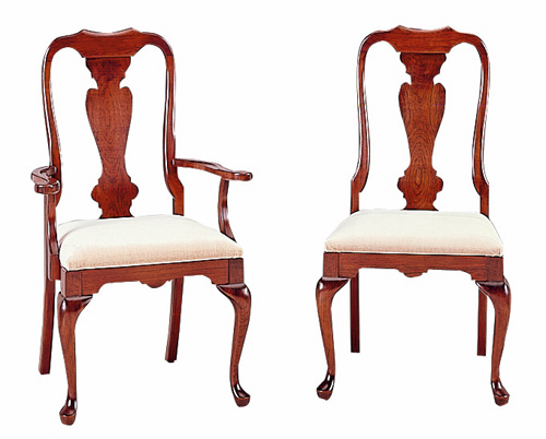 Cherry queen anne dining chairs for Dining room chairs queen anne
