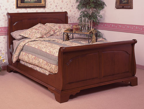 cherry sleigh bed bedroom furniture made in the USA
