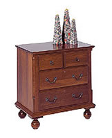 cherry nightstand four drawer bun feet