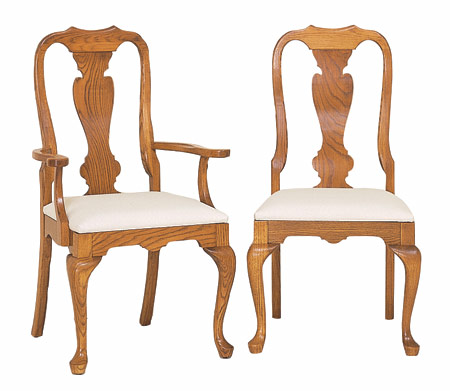 Oak queen anne dining chairs for Dining room chairs queen anne